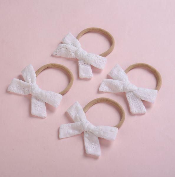 Baby Girls Lace Bows scrunchie lace hollow Out bordado floral Kids venda elástica titular de cola de caballo boutique niños hairbands Y2922