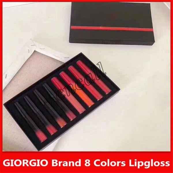 Son ünlü GIORGIO marka 8-color dudak parlatıcısı makyaj seti mat dudak sır yüksek kaliteli kozmetik
