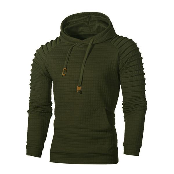 KLV Spring Autumn Men Fashion Long Sleeve Plaid Hoodie Sweatshirt Pullover Casual Daily Mens Top Army Green High Quality 190311