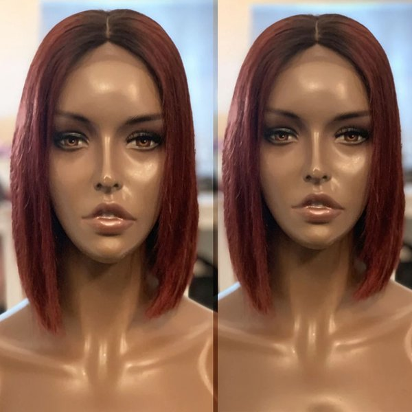 Ombre Bob Human Hair Lace Front Wigs For