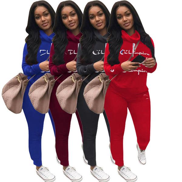 Mujeres Campeones Carta Chándal Heaps collar Sudadera Con Capucha Traje Deportivo Marca Diseñador de Primavera Trajes Jerseys + Pantalones Leggings 2 unids Set A3104