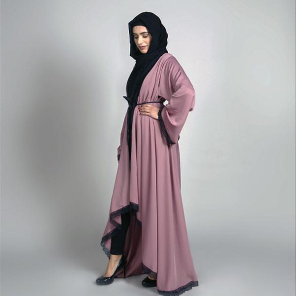 Mulheres Muçulmanos Noite Abaya Maxi Vestido Estilo Dubai Feminino Frente Aberta Kaftan Abayas Muçulmano Cardigan Jilbab Vestidos de Renda Vestido
