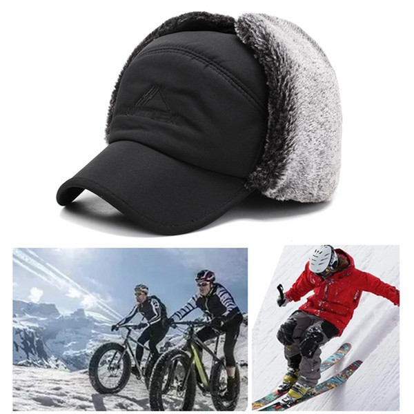 best selling Unisex Warm Winter Trapper Hat Mens Faux Fur Hats with Ear Flap Windproof Mask Snow Ski Hat Hunting Cap