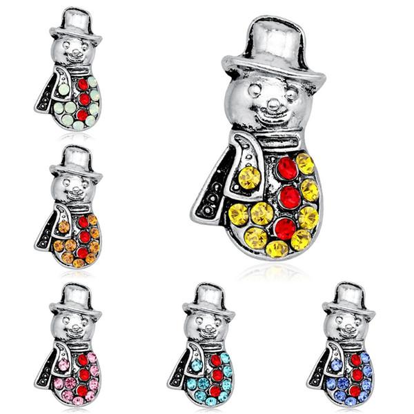 6pcs / set de Navidad 2020 Año Nuevo regalos muñeco de nieve ramillete de banquetes pernos Decoración Placa incrustaciones de diamantes de imitación de color broches