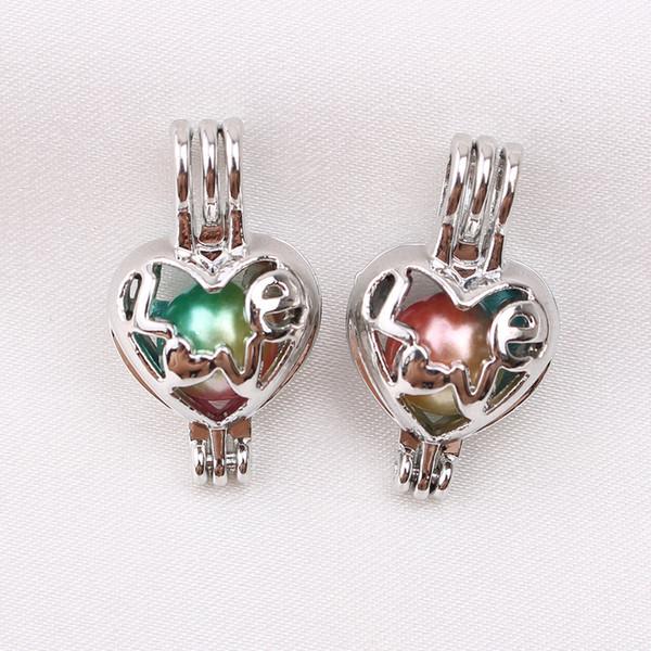 10pcs Mini Coeur Amour Oyster Perle Cage Parfum Huile Essentielle Diffuseur Cage Médaillons Pendentif Collier Fabrication De Bijoux Charms