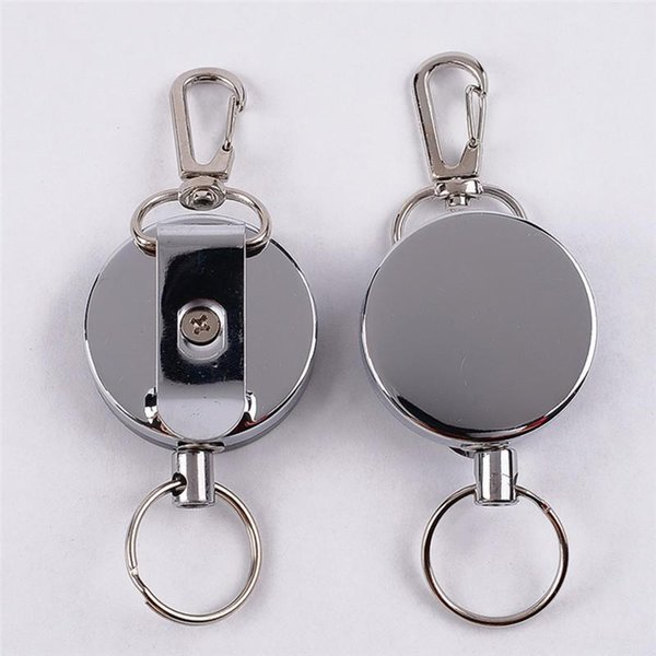 Key Chains Ski Pass ID Card Recoil Sporty Retractable Alarm Key Ring Resilience Steel Wire Rope Elastic Keychain