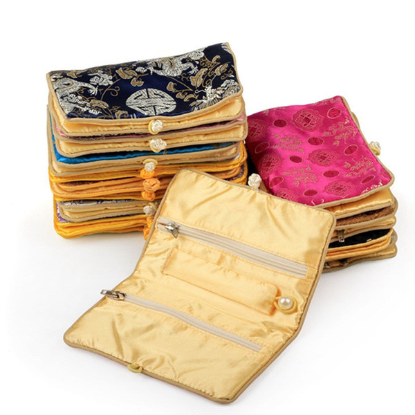 Chinese Style Small Zipper Jewelry Pouches Silk Brocade Gifts Bags Classic Knot Jewelry Rings Holder Bag Pouch