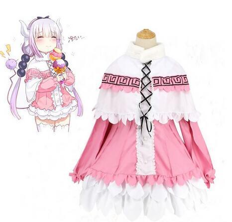 Anime Miss Kobayashi Dragon Maid Kamui Kanna Grembiule Abito Uniforme Meidofuku Abito Camicia Mantello Gonna Costume cosplay
