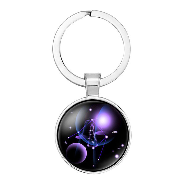 2019 new fashion creative hanging keychain accessories dream starry sky 12 constellation time gem glass key ring car backpack pendant