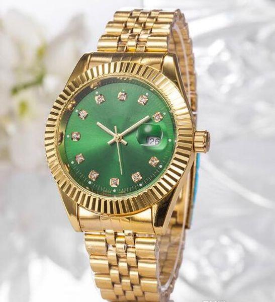 2019 Top Selling Luxury New Brand Men Watch Gold Stainless Steel Green Dial Wristwatch Male Quartz Watches Double Calendar Wrist watch man