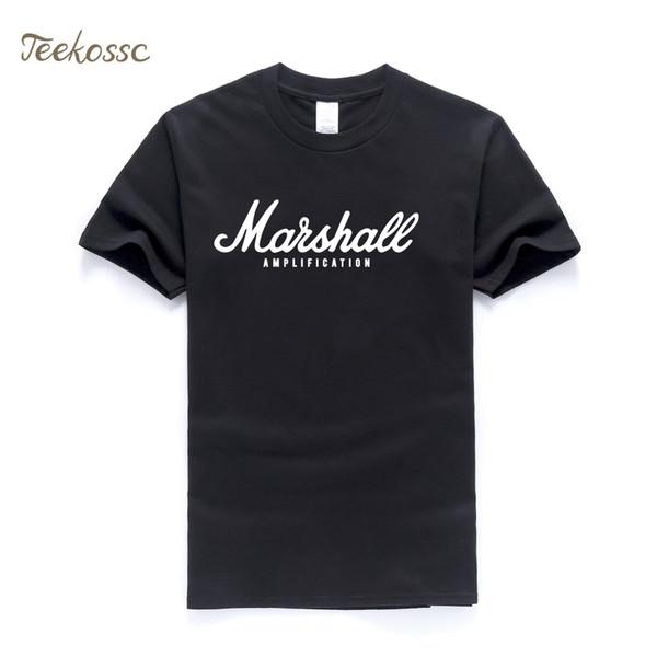 Marshall Camiseta de Los Hombres Carta de Amplificación Imprimir Camiseta Para Hombre 2019 Verano Nueva Moda Tops Camiseta de Algodón Slim Fit camiseta de Calidad Superior
