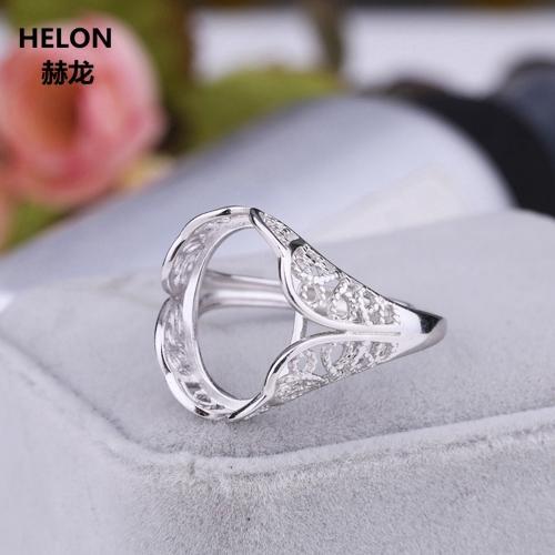 Стерлингового Серебра 925 Обручальное Обручальное Кольцо Белого Золота Цвет 13x16 мм Овальный Кабошон Полу Маунт Кольцо для Женщин DIY Камень