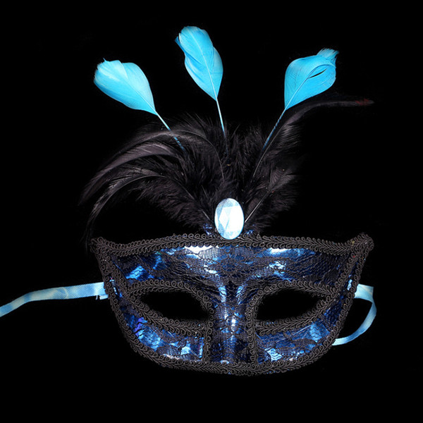 Feather Lace Mask for Party Ball Bar Masquerade Carnival Christmas Halloween Festivals Half Face Sexy Lady Girls Princess Masks