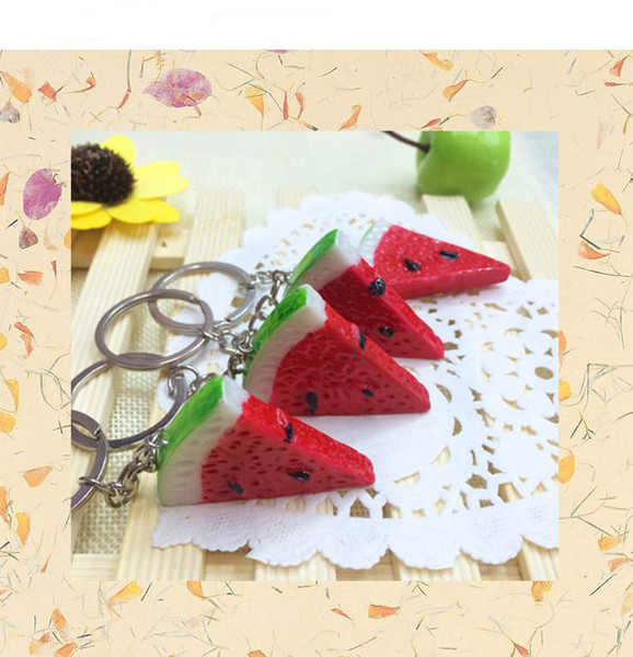 best selling Fruit Watermelon Keychain Keyring Creative Gift Simulation Food Charms Pendant Key Chain Key Ring free shipping
