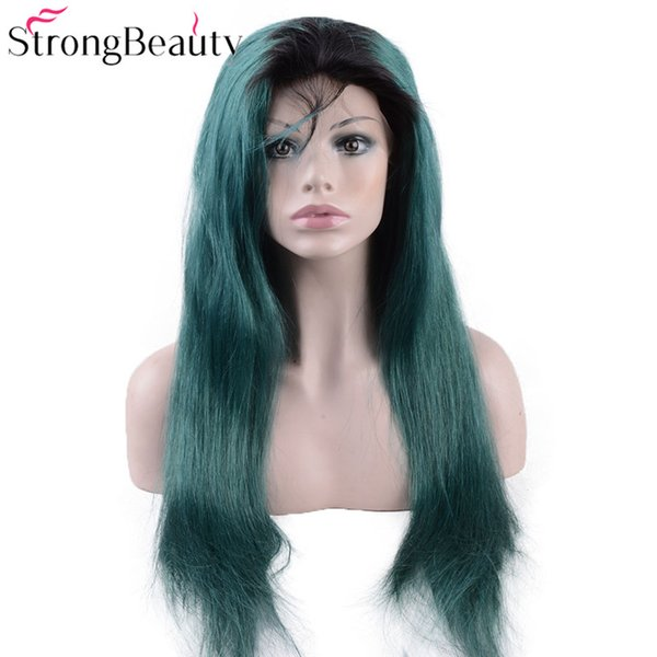 Long Green Lace Front Wigs Synthetic Kinky Straight Ombre Seagreen Heat Resistant Synthetic Wig With Dark Roots