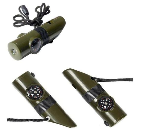 7 en 1 Multiusos mini compás del silbido de la correa del cuello Silva Termómetro Para supervivencia al aire libre herramienta que acampa de bolsillo portátil