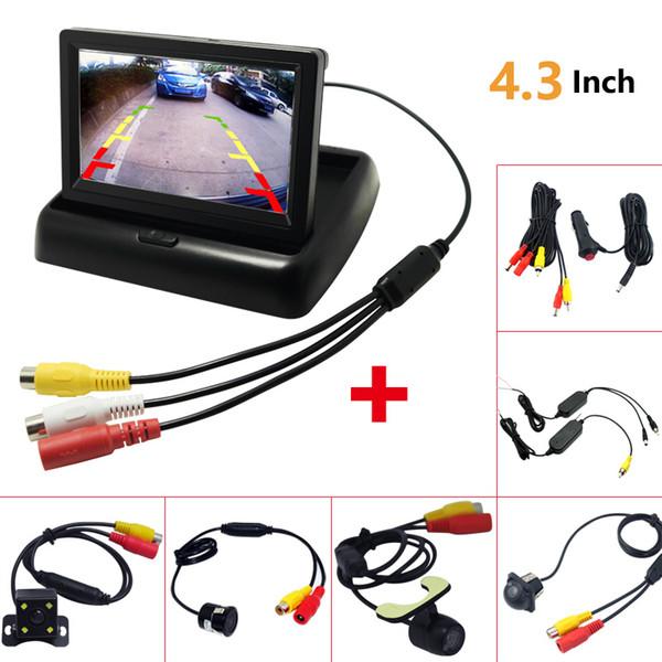 1 juego plegable de 4,3 pulgadas TFT LCD mini monitor del coche con la cámara de visión trasera de copia de seguridad para el vehículo que invierte el estacionamiento del sistema # 1535