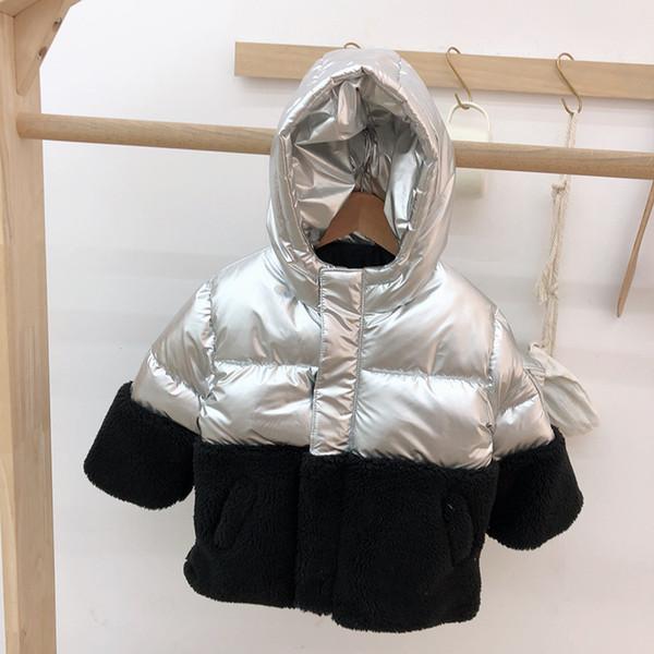 Winter Coat Children Boys Winter Clothes Cotton Outerwear Patchwork Color Hooded Zipper Spce Suit Coat