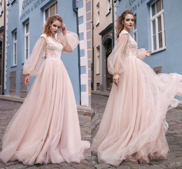 2019 принцесса румяна розовый сексуальные дешевые платья выпускного вечера с длинным V-образным вырезом с длинными рукавами кружева аппликация пол Lenth формальные платья выпускного вечера ну вечеринку свадебные платья