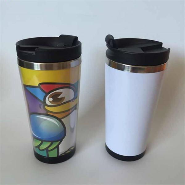 vasos de guión gráfico de acero inoxidable de 15 oz en el interior de acero inoxidable fuera de las tazas de plástico de viaje de agua con tapas de pp