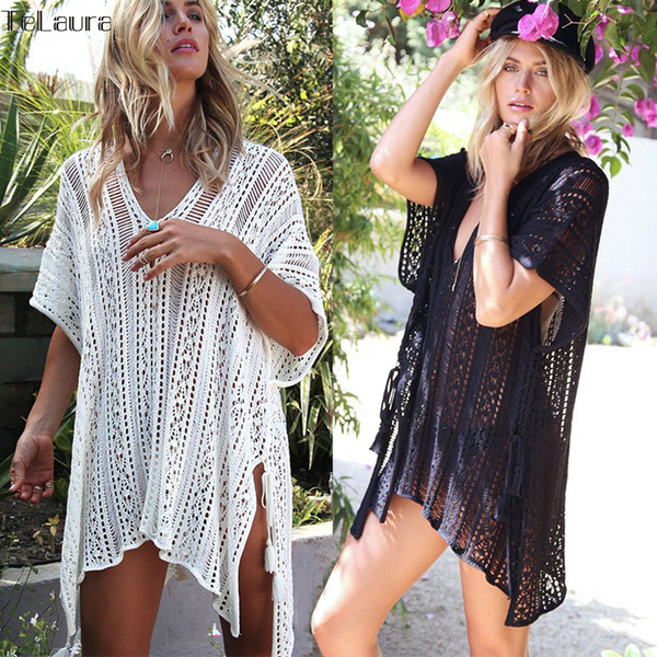 2019 New Beach Cover Up Bikini Crochet Knitted Tassel Tie Beachwear Summer Swimsuit Cover Up Sexy See-through Beach Dress Y19071801