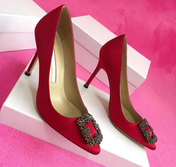 Высочайшее качество женской обуви атласные туфли на высоком каблуке сексуальные острым носком подошвы туфли с логотипом коробка свадебные туфли