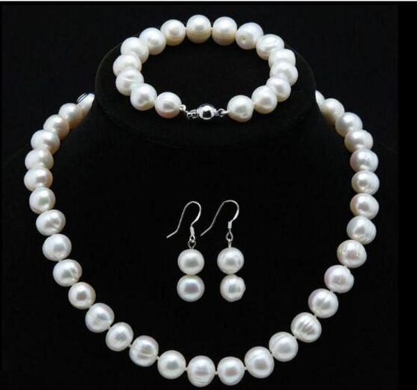Jewelryr Pearl Set Genuine 9-10mm Natural Akoya Freshwater Pearl Necklace Bracelet Earrings Free Shipping