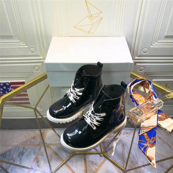 Tasarımcı Çocuklar Boot Sonbahar Yeni Varış Patent Deri Siyah Ayakkabı ile Logo Orijinal Kutusu ile Moda Unisex Çizmeler Çocuk Ayakkabı Kış giymek