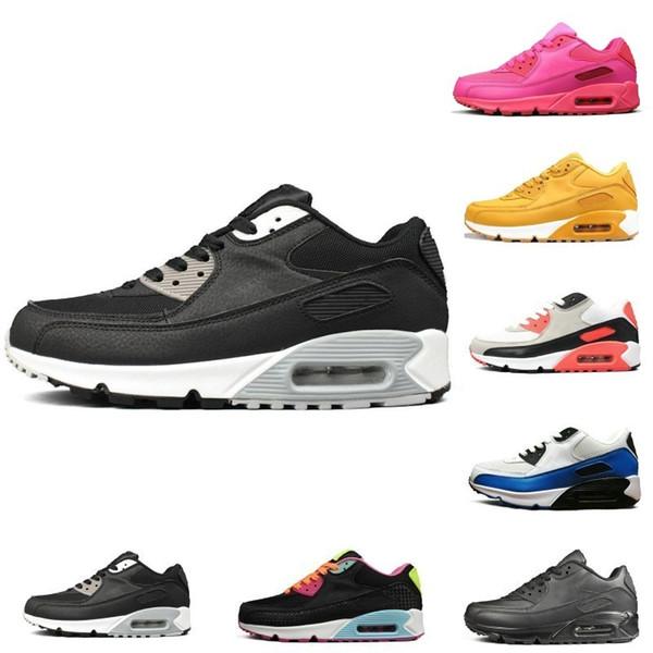 Compre Nueva NIK 90 Para Mujer Para Hombre Zapatillas De Deporte Amarillo Triple Blanco Negro Gris Rosa Hombres Zapatillas De Deporte Cojín Superficie