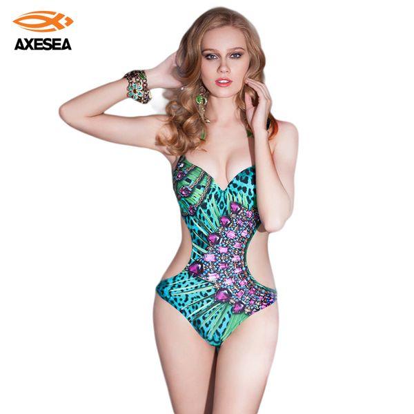 Axesea super sexy monokini one piece mulheres swimwear swimsuit strass verde maiô push up brasileiro sem encosto beachwear y19072501