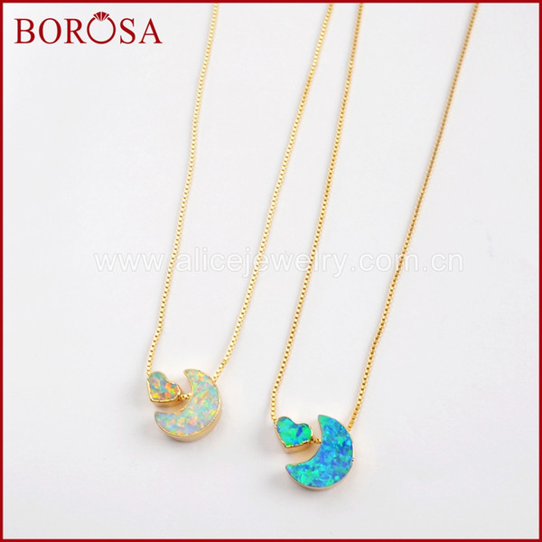 wholesale 5PCS 2019 NEW Crescent & Heart Beads Gold Color Man-made Opal White/Blue Japanese Opal Pendants Necklace Jewelry G1572