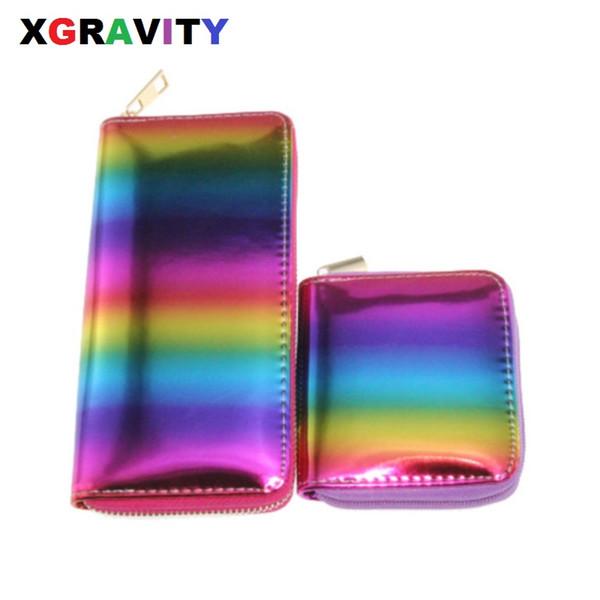 Xgravity European Laser Rainbow Colorful Wallet New Graffiti Ladies Long Purse Fashion Women Leisure PU Card Bags H018