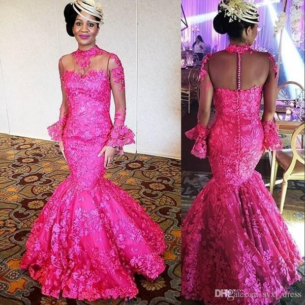 Aso Ebi Fuchsia Nigerian Style Lace Plus Size Long Sleeve Mermaid Prom Dresses 2019 Evening Gowns mother of bride dresses robes de demoisell