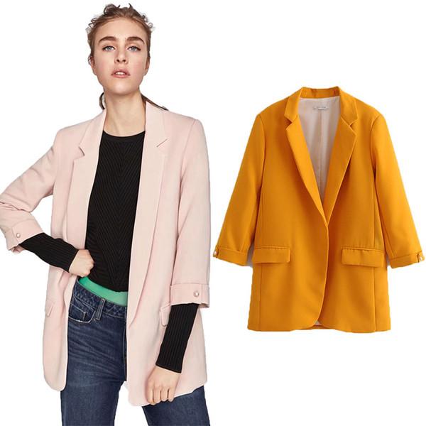 Wonder 2019 Bahar rahat bağbozumu katı ofis lady sarı yeşil lacivert Blazer feminino bayanlar coats kadın Blazers Ceketler