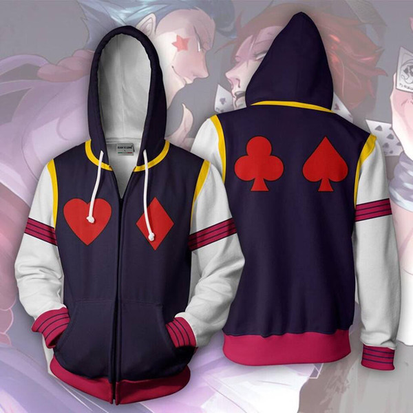 Zip Up Hoodie Man Hoodies Sweatshirt Cosplay Hooded Coats Zipper jacket Street Anime Style Naruto print Harajuku Hoody