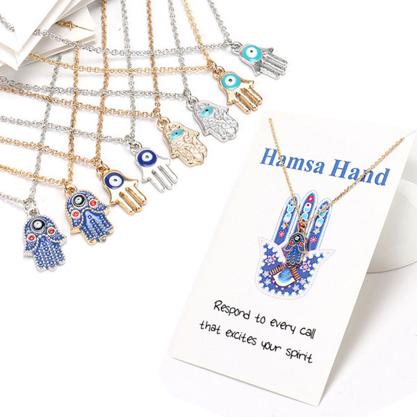 top popular Womens Designer Necklace Silver Gold Plated Chain Classic Evil Eye Hamsa hand Charms Pendant Jewelry Gift 2021