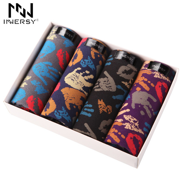 Innersy Brand 4pcs\lot Mens Underwear Colorful Boxers Cotton Boxer Men Printed Boxer Shorts Boxers Mens Underwear Plus Size Y19072001