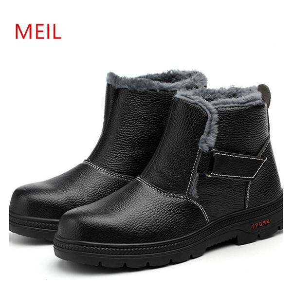 Botas De Segurança de Trabalho de inverno Botas de Neve Quente Para Os Homens de Couro de Aço Sapatos De Segurança de Dedo Do Pé Adulto Não-deslizamento Anti-estático Ocasional Ankle Plush