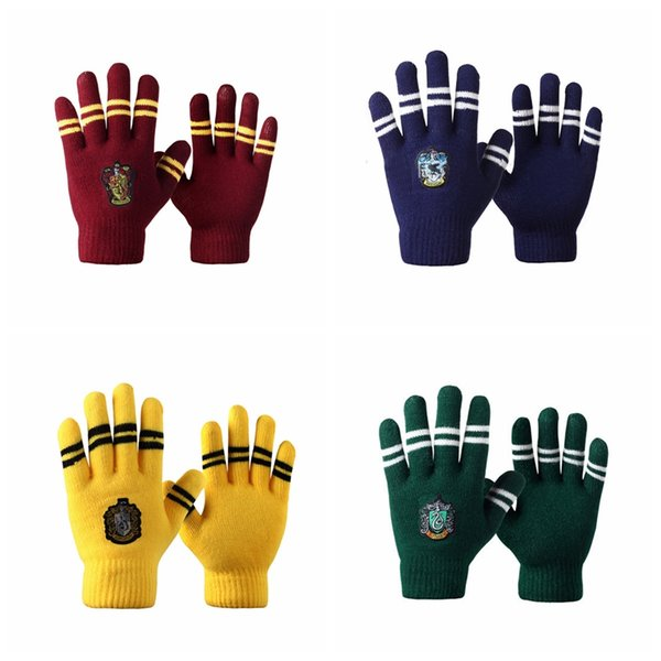 best selling Harry Potter Gloves Cosplay Gryffindor Slytherin Hufflepuff Ravenclaw Winter Glove Guantes Thick Warm Mittens Christmas Sports Gloves GA1404