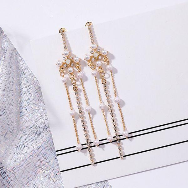 New Vintage European Pearl Flower Temperament Long Full Rhinestone Tassel Dangle Earrings For Women Pendientes Mujer Moda 5B2017