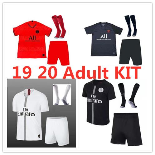2019 PSG 3RD camisetas de fútbol 19 20 kit de adultos MBAPPE DI MARIA T SILVA CAMPEONES LIGA CAVANI París 2018 Camisetas de fútbol Uniformes para hombres Juegos
