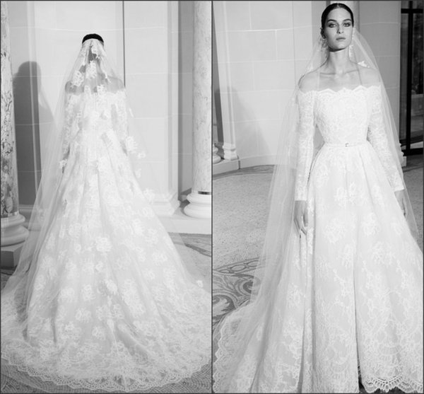 New Couture Elie Saab Wedding Dresses 2019 A Ling Boat Neck Long Sleeves Full Lace Bridal Gowns robe de mariée