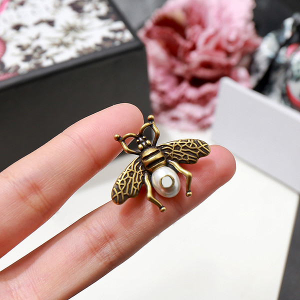 2019 Designer guccy fashion accessories copper vintage insect beetle bee pearl ring jewelry love rings for women men gifts With box