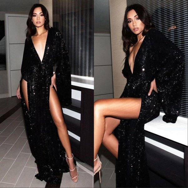 Black Sequined Vestidos Mermaid Prom Party Dresses 2020 New Long Sleeve Split Deep V-neck Sweep Train Formal Evening Gowns
