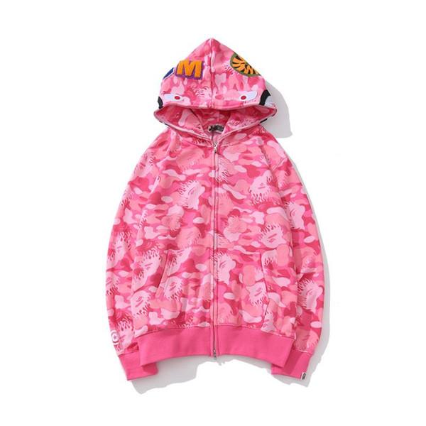 Марка Mens Shark Head свитер дизайнер толстовка Street Hip Hop Камуфляж Женщины Tracksuit Hoodie фуфайки Coat