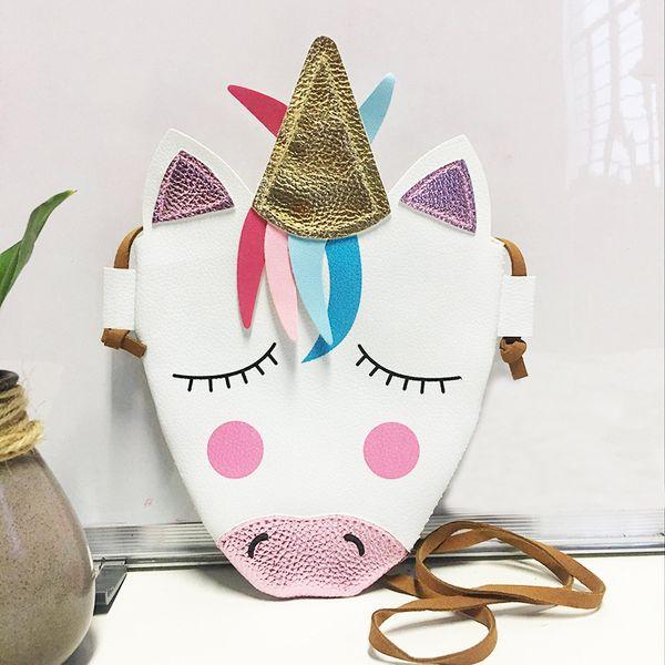 Unicornio Monedero infantil Bolso con bandolera con cordón Niño Encantador de PU Envoltorio para teléfono de compras al aire libre Bolso billetera FFA2166