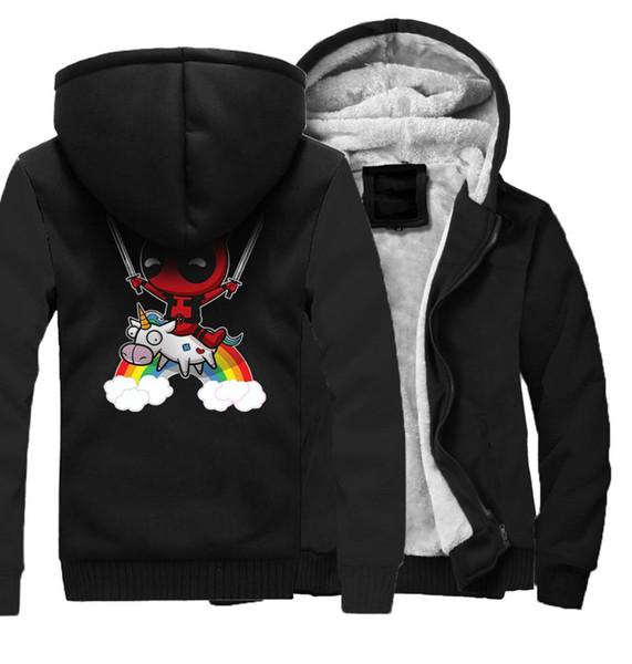 Marque Vêtements Anime Imprimer Hommes Veste DEADPOOL Hip Hop Veste Hommes Harajuku Zipper Hiver Polaire Sweats Streetwear