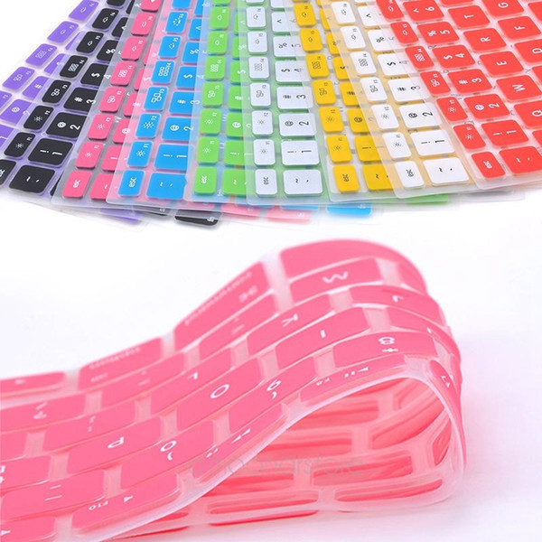 Colorful Silicone Skin Protection Keyboard Cover for US Apple Macbook Pro 13 15 17 pro Air 13 Soft Keyboard Stickers 9 Colors
