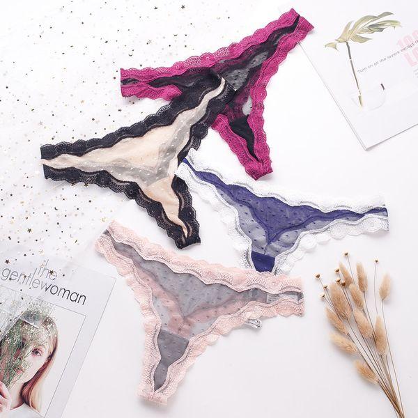 Mujeres sexy bragas de encaje G-Strings T tanga malla transparente calzoncillos con paneles transpirable cómodo ropa interior ropa interior suave panty panty
