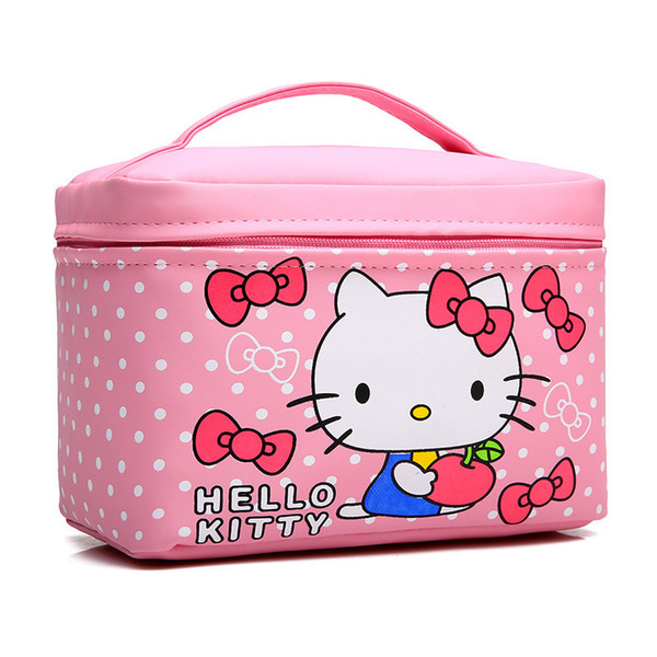Women Cute Hello Kitty Make Up Bag Cosmetic Cases Pu Leather Beauty Vanity Makeup Organizer Travel Toiletry Wash Storage Pouch Y19052501